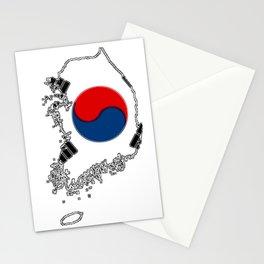 South Korea Map with Korean Flag Stationery Cards