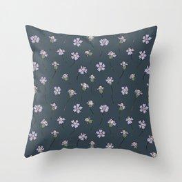 Dainty Wildflowers - Steel Blue & Lilac Throw Pillow
