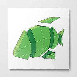 Illustration of a 3D Paper Craft Fish Model Metal Print
