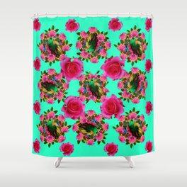 GREEN PEACOCK & PINK ROSE PATTERN ART Shower Curtain
