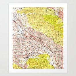 Vintage Map of Burbank California (1953) Art Print