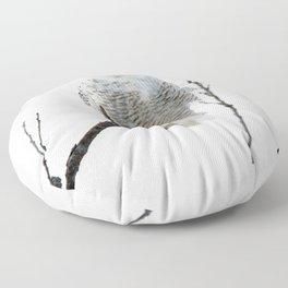 Snowy in the Wind (Snowy Owl) Floor Pillow