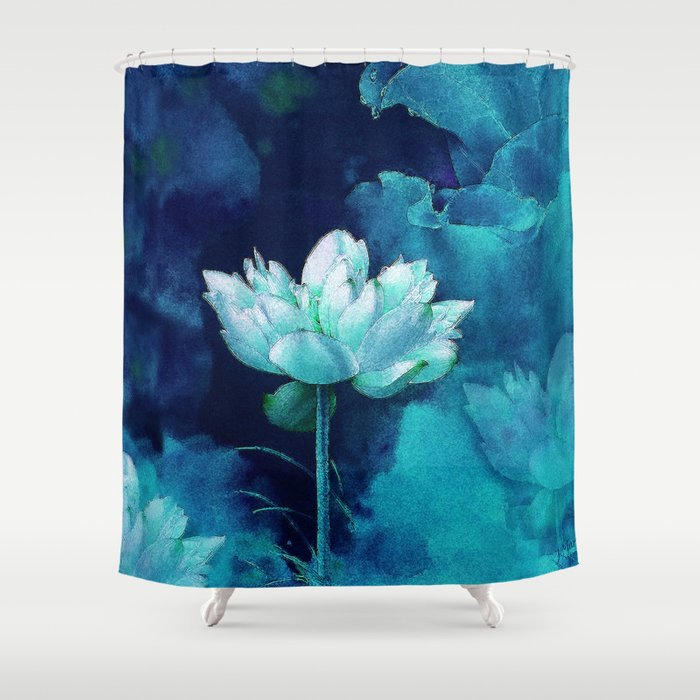 Moonlight Water Lily Shower Curtain By Jmariellearts