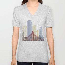 Dallas skyline poster Unisex V-Neck