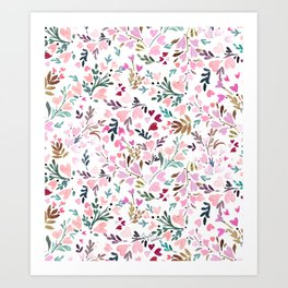 Sweetie Floral Hearts Art Print