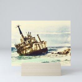 shipwreck aqrefn Mini Art Print