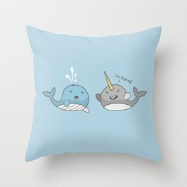 Horny Narwhal Throw Pillow