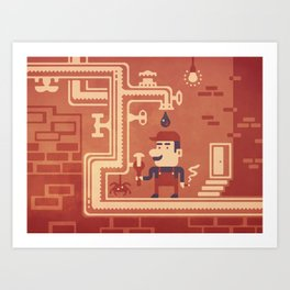 Mario at work Art Print