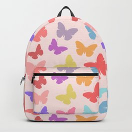 Multicoloured Butterflies on Pink Backpack