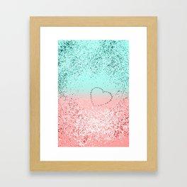 Summer Vibes Glitter Heart #1 #coral #mint #shiny #decor #art #society6 Framed Art Print