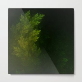 Beautiful Fractal Pines in the Misty Spring Night Metal Print