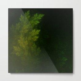 Beautiful Fractal Pines in the Misty Spring Night Metal Print