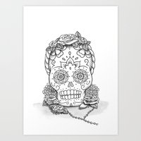 Dia de los Muertos Skull Frida Kahlo - Black and White Art Print