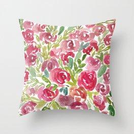 Maya's Garden Watercolor Painting Throw Pillow
