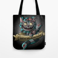 gore Tote Bags featuring Chesire cat gore by trevacristina