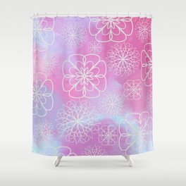 Modern pink lavender watercolor geometrical floral Shower Curtain