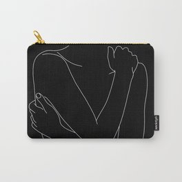 Nude figure line drawing illustration - Emie black Carry-All Pouch