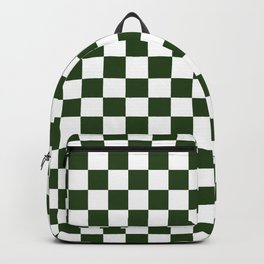 Large Dark Forest Green and White Check Squares Backpack