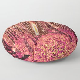 Magical Forest Pink Living Coral Peach Floor Pillow