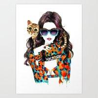 kenzo Art Prints featuring Kenzo Girl by Sunny Gu
