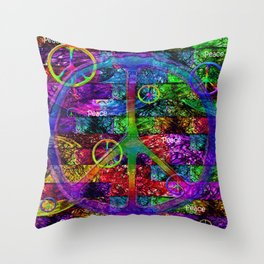 Peace Symbol Rainbow Flag Throw Pillow