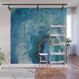 Aqua Turquoise Crystal Mineral Gem Agate Wall Mural