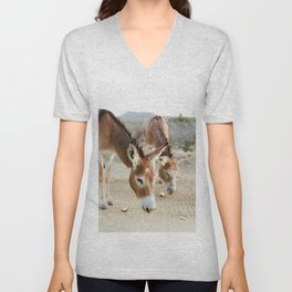 Two Donkeys Eating Apples Unisex V-Neck