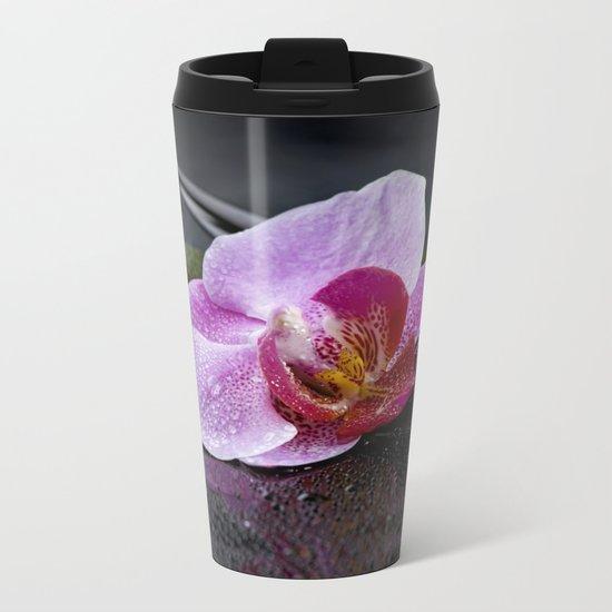 Pink orchid zen black still life Asia Metal Travel Mug