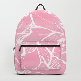 Modern white hand drawn abstrat floral pastel pink watercolor Backpack