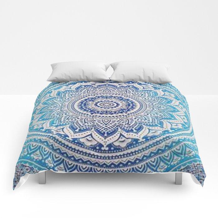 Teal And Aqua Lace Mandala Comforters
