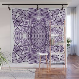 Grape Wash Zentangle Tile Doodle Design Wall Mural