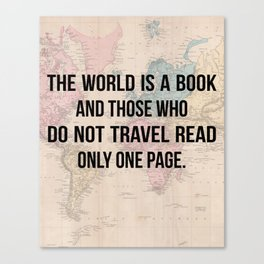 Travel Quote Map Design Canvas Print