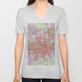 Vintage Map of Greensboro North Carolina (1951) 2 Unisex V-Neck