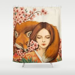 Red Fox - Totem Shower Curtain