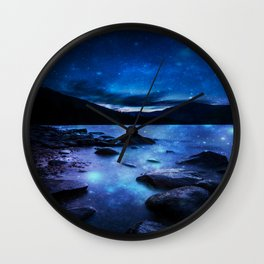 Magical Mountain Lake Dark Blue Wall Clock