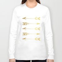 gold foil Long Sleeve T-shirts featuring Faux gold foil arrows by Jaclyn Rose Design