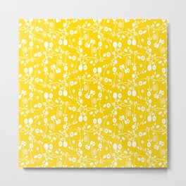 Gold Yellow Floral Pattern Metal Print