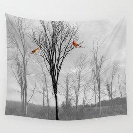 Red birds Cardinals Tree Fog A112 Wall Tapestry