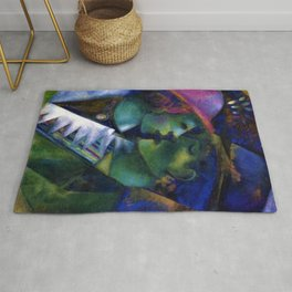 Green Lovers romantic Paris portrait painting by Marc Chagall Rug