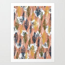 Autumn floral raining Art Print