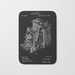 Vintage Camera Patent - White on Black Bath Mat