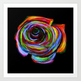 Crazy Psychedelic Rainbow Rose Art Print