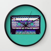 tape Wall Clocks featuring Mix Tape # 10 by Bianca Green