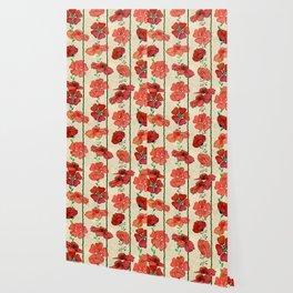 Hanging Poppy Garland Wallpaper