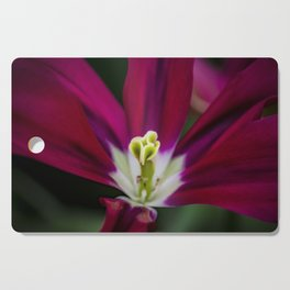 Closeup of a Wide Open Magenta Tulip with Stigma in the Center in Amsterdam, Netherlands Cutting Board