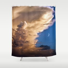 Clouds, Birds, Moon, Venus Shower Curtain