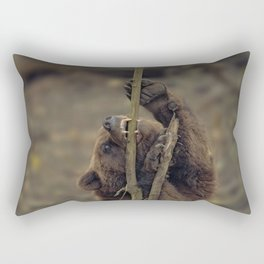 Grizzly Attacking A Tree Rectangular Pillow