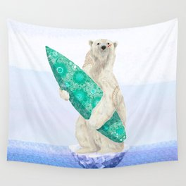 Polar bear & Surf (green) Wall Tapestry
