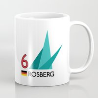 f1 Mugs featuring F1 2015 - #6 Rosberg [v2] by MS80 Design