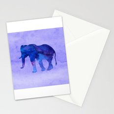 Blue Watercolor Elephant Stationery Cards